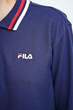 Fila - Polo manches longues en piqué bleu marine