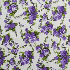 Ebay - White Fabric Decorative Floral Printed Cotton Crafting Fabrics By The Yard