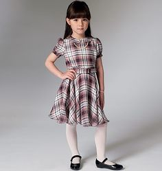 Little Vogue sewing pattern has a simple, classic charm. Includes sleeve variations. V9141, Children's/Girls' Dress and Belt