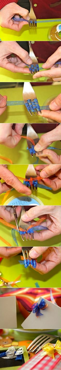 How to make a tiny bow with a fork. Cute and easy. Glue the bows on letters, in scrap books or on a bobby pin for a cute and girly touch :) by Ricka1130