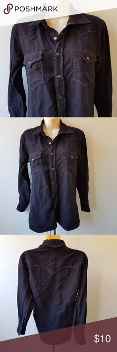 """BROOKS & DUNN Women's Black Snap Button Shirt 100% poly Looks/feels like brushed suede Measures 16"""" from pit to pit & 26.5"""" in length Excellent Condition Brooks & Dunn Collection Tops Button Down Shirts"""