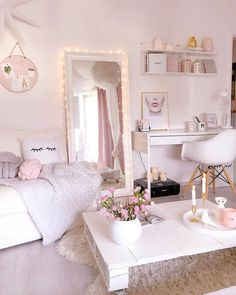 home decor furniture - Zimmer Diy Cute Bedroom Ideas, Cute Room Decor, Girl Bedroom Designs, Room Ideas Bedroom, Home Decor Bedroom, Girls Bedroom, Teenage Bedrooms, Bed Room, Blush Bedroom Decor