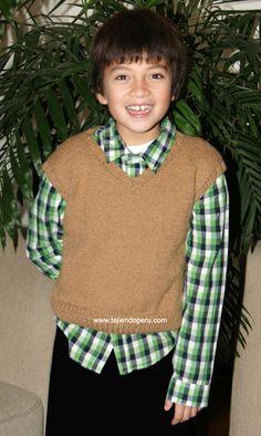 Chaleco para niños - Tejiendo Perú Baby Boy Knitting, Knit Patterns, Fasion, Turtle Neck, Sweatshirts, Boys, Sweaters, Alonso, Vest Coat