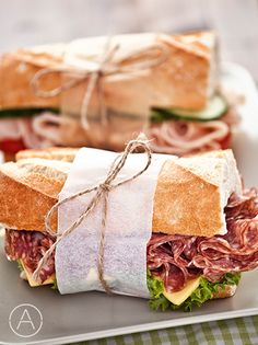 Salami, turkey, muenster and dijon sandwich Sandwich Bar, Sandwich Shops, Baguette Sandwich, Salami Sandwich, Comida Picnic, Bistro Food, Good Food, Yummy Food, Cafe Food