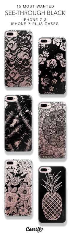 15 Most Wanted See Through Black Protective iPhone 7 Cases and iPhone 7 Plus Cases. More Black iPhone case here > https://www.casetify.com/collections/top_100_designs#/?vc=exKWnVyF6V