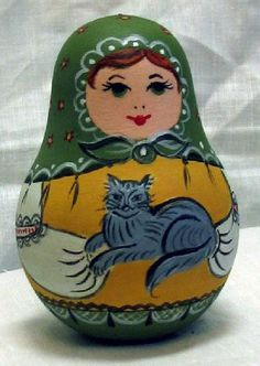 Matryoshka (Russian nesting doll) with a cat in its hands. #folk #art #Russian…➕➖Russian Nesting Dolls / Matryoshka Folk Art➕More Pins Like This At FOSTERGINGER @ Pinterest ➖✖️