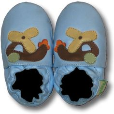 Helicopter (light blue) Soft Sole Leather Baby Shoes
