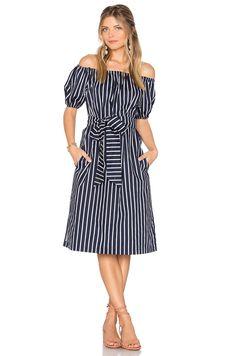 6c1ebd09670 J.O.A. Stripe Off The Shoulder Dress in Navy Multi Shoulder Dress