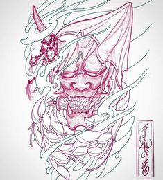 👹 would be a killer forearm piece or even thigh/calves ! itd be b&g obviously not pink lol shoot me a message if ur interested Japanese Mask Tattoo, Japanese Tattoo Symbols, Japanese Tattoo Designs, Japanese Sleeve Tattoos, Hannya Mask Tattoo, Demon Tattoo, Samurai Tattoo, Yakuza Tattoo, Tattoo Sketches