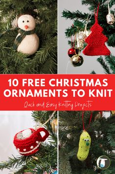 Support the holidays! 10 free Christmas ornament knitting patterns - Quick, Easy, Cheap and Free DIY Crafts Knit Christmas Ornaments, Christmas Pickle, Small Christmas Trees, Christmas Crafts, Christmas Holidays, Christmas Ideas, Christmas Decorations, Holiday Decor, Knitting Patterns Free