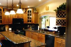 These counters with honey oak cabinets