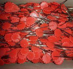 Stecknadeln 1000 Stück extra lang 42mm flower pin rot Quiltnadeln