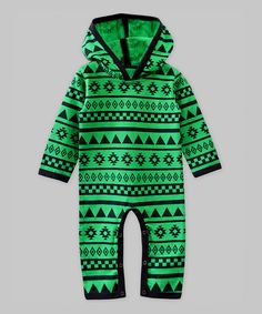 Love this A.T.U.N. Green & Blue Geometric Hooded Playsuit - Infant by A.T.U.N. on #zulily! #zulilyfinds
