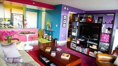 Comfort and Colorful Design Interior Apartment Room by Janelle Living Room Color Schemes, Living Room Colors, Wall Colors, House Colors, Paint Colors, Rainbow House, Rainbow Room, Colourful Living Room, Apartment Therapy
