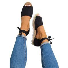 2da6d0e2eadb Chellysun Womens Espadrilles Peep Toe Tie Up Flats Sandals summer boho  sandals  fashion  style