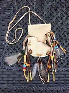 Deerskin Leather Medicine Bag Pouch with Fringe Glass Beads Feathers | eBay