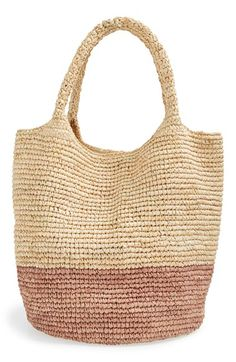 Free shipping and returns on Straw Studios Colorblock Straw Shoulder Bag at Nordstrom.com. Two-tone color blocking complements the natural texture of a woven raffia tote that works just as well on errand runs as it does on the beach.
