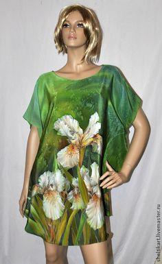 "Блузка Батик "" Солнечные Ирисы"" - батик блузка,блуза батик,шелковая блузка"
