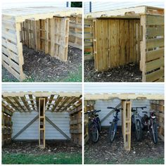 Pallet Board: Bike Shed My husband built this so the bikes could be parked outside, not in my salon! Used discarded pallets from a food plant near our house. Hmmm need him to build a Storage Shed too!