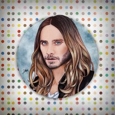 Jared Leto, finished. W/ @jaredleto #art #illustration #freehand #instafollow #instadaily #picoftheday #draw #design #jaredleto #30secondstomars #upintheair #willcosta #work #dots #thisiswar #drawing #instamusic #beard #hair #longhair #blueeyes #echelon