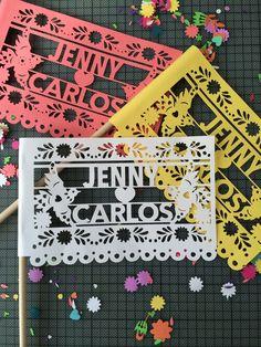 Cute flags for your fiestas! #pinatas #pinata #minipinatas #weddingfavor #mexicanwedding #fiesta #fiestawedding #cincodemayo #bachelorette #babyshower #babyfiesta #wedding #papelpicado #weddingbanners #birthdayparty #flags #papercut
