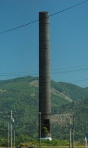 Smoke Stack in Garibaldi, Oregon - Remnants of a smoke stack of former long demolished mill. This is the plywood mill where my dad used to work.