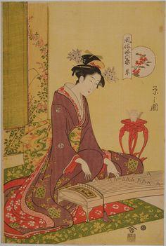 風俗略六芸 琴 The Koto, from the series Six Elegant Accomplishments (Fûzoku Yatsushi Rikugei)