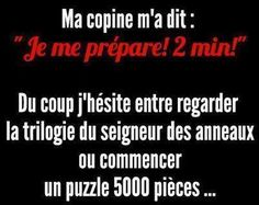 """Je me sens pas du tout concernée . So now a I hesitate between watching the """"Lord of the Rigs"""" again or doing a puzzle"""" Rage Comic, Funny Jokes, Hilarious, Quote Citation, French Quotes, Some Words, Me As A Girlfriend, Words Quotes, Sentences"""