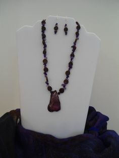 Simple Purple Necklace & Earrings Set: Purple Imperial Jasper with Amethyst chips, Rare Purple Rubies, Purple Agate and Wood beads by ATouchOfT on Etsy