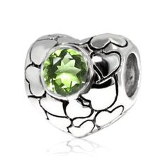 Sterling Silver Heart Pandora Charm with Natural Peridot (August Birthstone) ,Fits Pandora and All Bracelets and...