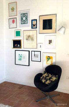 Billedvæg med forskellige rammer, litografier, malerier og tegninger. New Room, Gallery Wall, Frame, Interior, House, Inspiration, Home Decor, Quotes, Little Cottages