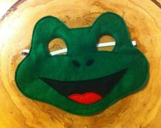 Frog Felt Mask...Felt mask...Frog mask...Toad child mask.... dress up... costume...