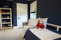 The newly redecorated boys bedroom is bold but welcoming for hours of playtime. Furniture, Room, Spacious Kitchens, Toddler Bed, Porch Fireplace, Redecorating, Contemporary Decor, Home Decor, Bedroom