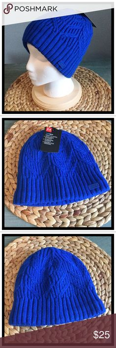 2484af9974fb0 Shop Women s Under Armour Blue size OS Hats at a discounted price at  Poshmark. Description  ❄️NEW WITH TAGS❄ Under Armour Fleece Lined Cable Knit  ...