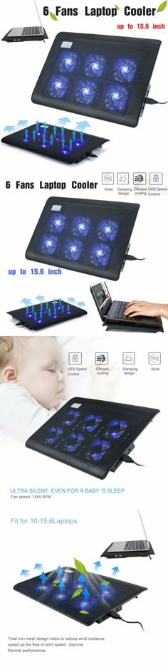 """Laptop Notebook Cooling 6 Fans USB Cooler Pad Computer Stand For 15.6/"""" PC TO"""