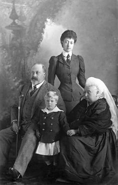 Queen Victoria and her generations, son Edward Prince of Wales, (Edward VII), his daughter Maud, Queen of Norway, and her son Gustaf, King of Norway.