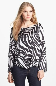 Vince Camuto Fluted Sleeve Zebra Print Blouse available at #Nordstrom