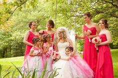 Pretty in pink...bride, bridesmaids and flower girls... #thekellygallery #outdoorwedding #gardenwedding #kcvenues #kcbrides
