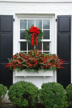 a beautiful window box idea for Christmas or just winter in general. If you are in need of wooden window boxes please check us out at so we can assist your gardening masterpieces Winter Window Boxes, Christmas Window Boxes, Christmas Planters, Christmas Porch, Outdoor Christmas Decorations, Winter Christmas, Christmas Wreaths, Merry Christmas, Fall Planters