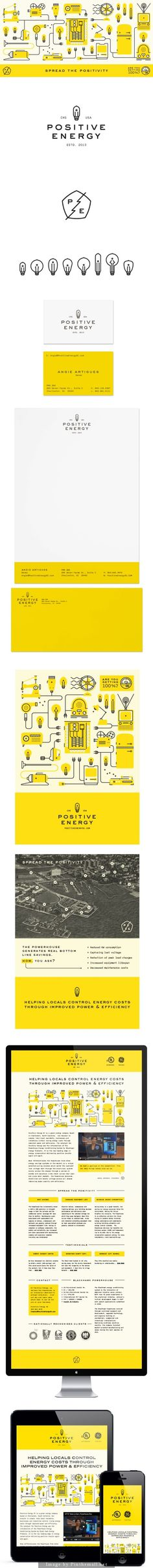 Branding for Positive Energy: Love the fun, modern and vibrant design. Great colour choice.