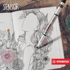 Para quem quer traços mais finos, a Sensor surpreende. A ponta de 0,3 mm é ótima para pequenos detalhes!