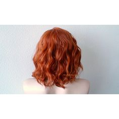 Ginger orange wig. Beach wavy hairstyle short orange wig. Quality... ($131) ❤ liked on Polyvore featuring beauty products, haircare and hair styling tools
