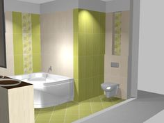 Drapp és élénk zöld Bathtub, Bathroom Ideas, Green, House, Bathroom, Standing Bath, Bath Tub, Home, Haus