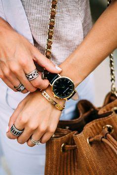 Marc Bale Gold & Black timepiece and Skinny Roman Empress @thepeachbox