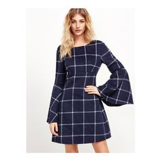 SheIn(sheinside) Navy Grid High Waist V Back Bell Sleeve Dress ($22) ❤ liked on Polyvore featuring dresses, navy, vintage dresses, bell sleeve dress, navy blue long sleeve dress, blue plaid dress and long-sleeve maxi dresses