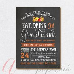 Thanksgiving invitation. Printable Thanksgiving invite. Personalized. Thanksgiving dinner invite. Chalkboard thanksgiving invitation.
