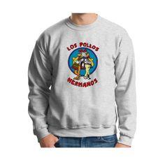 Los Pollos Hermanos Chickn Brothers Crewneck Inspired Breaking Bad AMC TV show Full Color Crewneck Sweatshirt Medium Ash