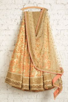 SMF LEH 222 17 Vanilla with tangy orange threadwork lehenga with matching sequin dupatta and gold sequin blouse Punjabi Fashion, India Fashion, Bollywood Fashion, Women's Fashion, Fashion Outfits, Pakistani Bridal Wear, Pakistani Outfits, Indian Attire, Indian Ethnic Wear