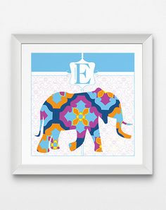 E is for Elephant Nursery Artwork – JHill Design Map Prints