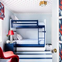 Interior Designer Kevin Isbell Whimsical Bedroom, Red Bedding, Bunk Beds, Living Area, At Least, Stripes, Interior Design, Fun, House